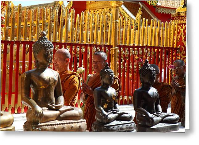 Mai Greeting Cards - Monk Ceremony - Wat Phrathat Doi Suthep - Chiang Mai Thailand - 01135 Greeting Card by DC Photographer