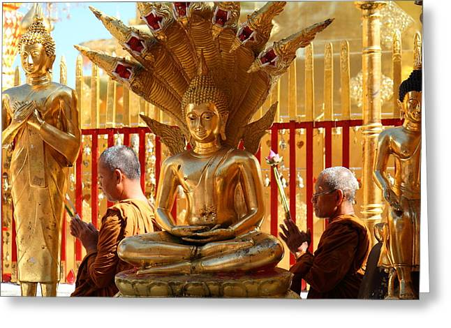 Monk Greeting Cards - Monk Ceremony - Wat Phrathat Doi Suthep - Chiang Mai Thailand - 01139 Greeting Card by DC Photographer