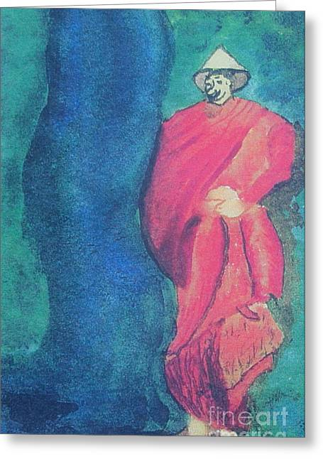 Monk Mixed Media Greeting Cards - Monk Greeting Card by Debbie Nester
