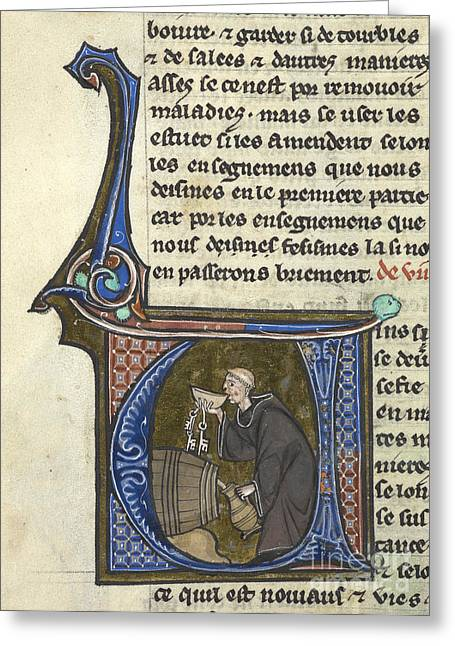 Written French Greeting Cards - Monk Drinking From Barrel Greeting Card by British Library