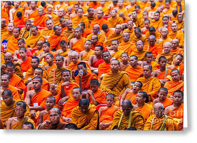 Local Food Photographs Greeting Cards - Monk Mass Alms Giving Greeting Card by Fototrav Print
