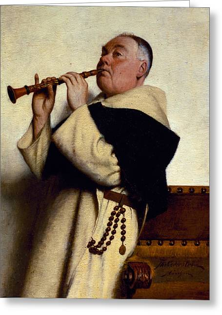 Humourous Greeting Cards - Monk Playing a Clarinet Greeting Card by Ture Nikolaus Cederstrom