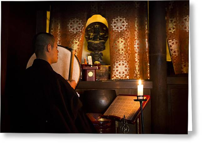 Koya Greeting Cards - Monk playing drums during the Goma fire ritual at Ekoin temple Greeting Card by Ruben Vicente