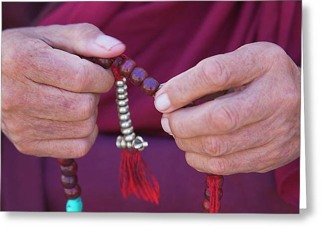 Monk Praying With Beads, Phyang Gompa Greeting Card by Keren Su