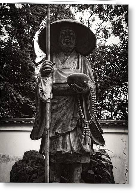 Kyoto Greeting Cards - Monk Statuary - Chishakuin Temple -  Kyoto Greeting Card by Daniel Hagerman