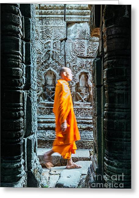 Real People Greeting Cards - Monk walking inside Angkor Wat temples - Cambodia Greeting Card by Matteo Colombo