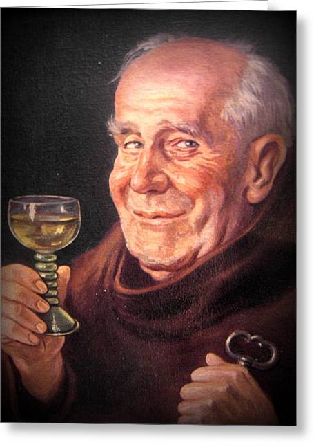 Monk With Wineglass And Key Greeting Card by The Creative Minds Art and Photography