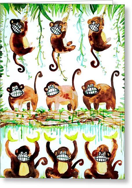 Chimpanzee Paintings Greeting Cards - Monkey Armada Greeting Card by Fabrizio Cassetta