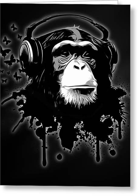 Chimpanzee Greeting Cards - Monkey Business - Black Greeting Card by Nicklas Gustafsson