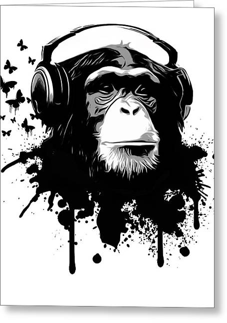 Stained Greeting Cards - Monkey business Greeting Card by Nicklas Gustafsson