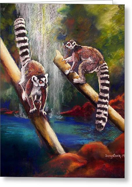 Actions Pastels Greeting Cards - Monkey Business Greeting Card by Sandra Sengstock-Miller