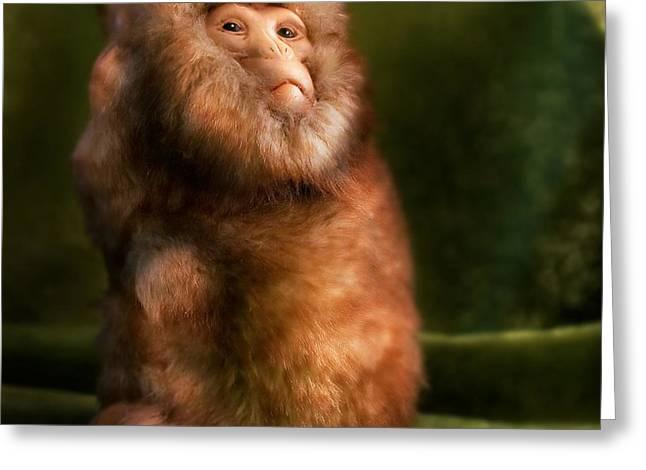 Anthropomorphism Greeting Cards - Monkey Greeting Card by Diane Bradley