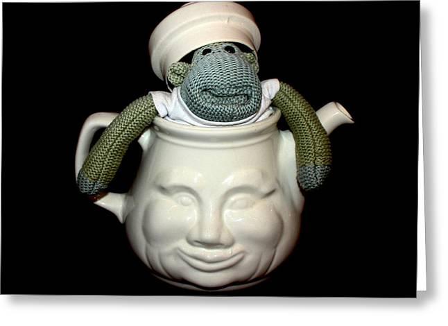 Terri Waters Greeting Cards - Monkey in a Tea Pot Greeting Card by Terri  Waters