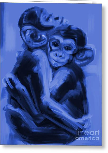 Monkeys Greeting Cards - Monkey Love T17 Greeting Card by Go Van Kampen