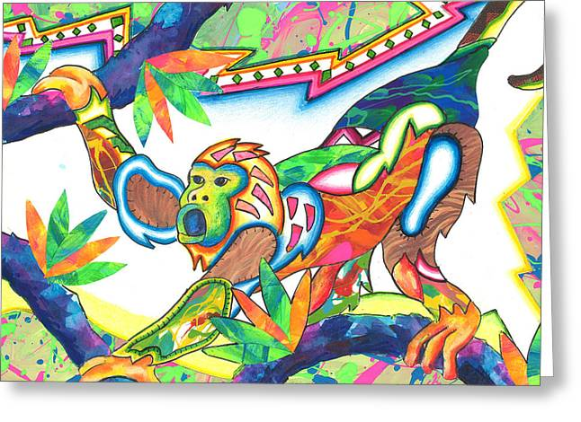 Andrew Michael Greeting Cards - Machumba - Monkey Greeting Card by Michael Andrew Frain