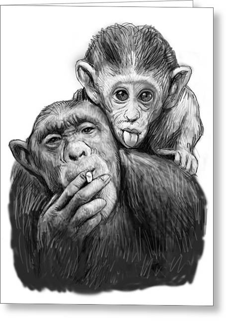 Charcoal Greeting Cards - Monkey mum with son drawing sketch Greeting Card by Kim Wang