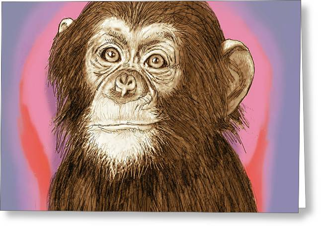 Old World Mixed Media Greeting Cards - Monkey - stylised drawing art poster Greeting Card by Kim Wang