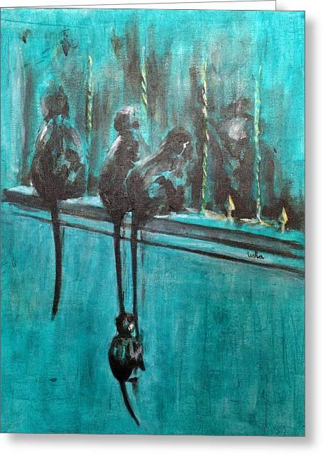 Monkey Swing Greeting Card by Usha Shantharam
