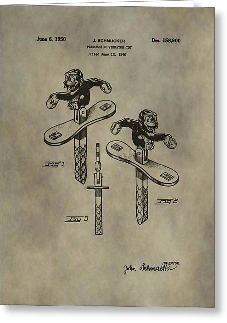 Toy Shop Greeting Cards - Monkey Toy Patent Greeting Card by Dan Sproul
