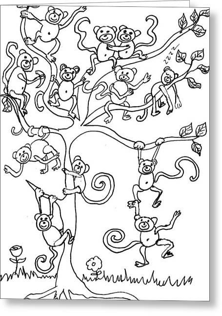 Cherie Sexsmith Greeting Cards - Monkey Tree Greeting Card by Cherie Sexsmith