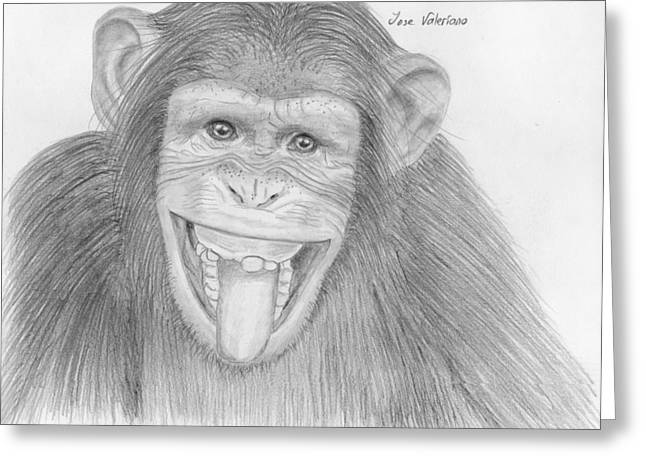 Graphite Greeting Cards - Monkeying Around Greeting Card by Jose Valeriano