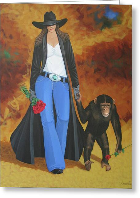 Arizona Contemporary Cowboy Greeting Cards - Monkeys Best Friend Greeting Card by Lance Headlee