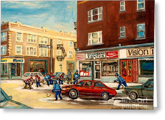 Montreal Stores Paintings Greeting Cards - Monkland Street Hockey Game Montreal Urban Scene Greeting Card by Carole Spandau