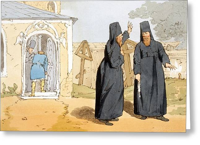Orthodox Drawings Greeting Cards - Monks, C.1804 Greeting Card by John Augustus Atkinson