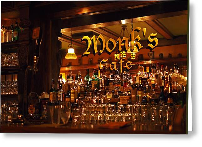 Monks Cafe Greeting Card by Rona Black