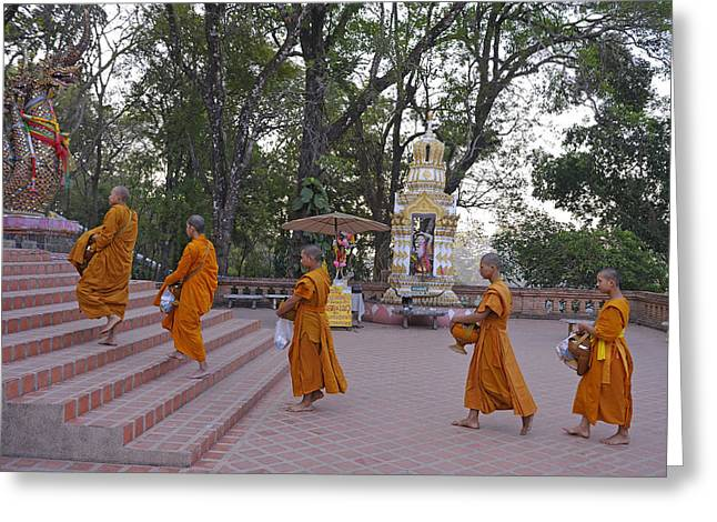 Suthep Greeting Cards - Monks Greeting Card by Christian Heeb