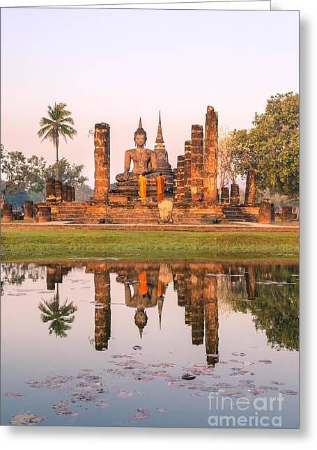 Real People Greeting Cards - Monks praying at Wat Mahatat temple - Sukhothai - Thailand Greeting Card by Matteo Colombo