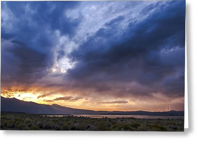 Lightning Landscapes Greeting Cards - Mono Lake Lightning Greeting Card by Cat Connor