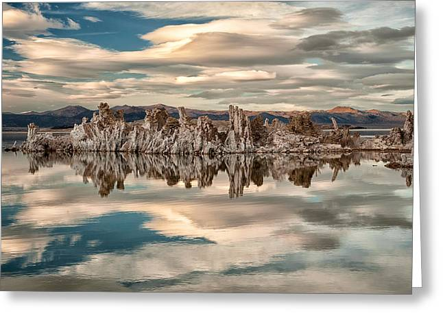Tufa Greeting Cards - Mono Lake Reflections Greeting Card by Cat Connor