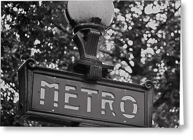 Mono Metro - Paris Art Greeting Card by Georgia Fowler