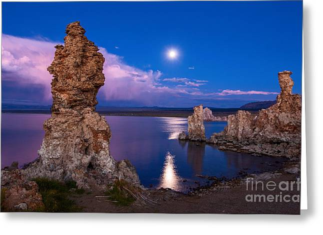 Moonrise Greeting Cards - Mono Moonrise - Strange Tufa Towers of Mono Lake in California. Greeting Card by Jamie Pham