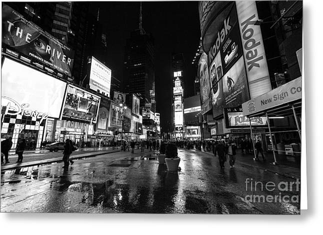 Nyc Winter Greeting Cards - Mono TImes Square  Greeting Card by John Farnan