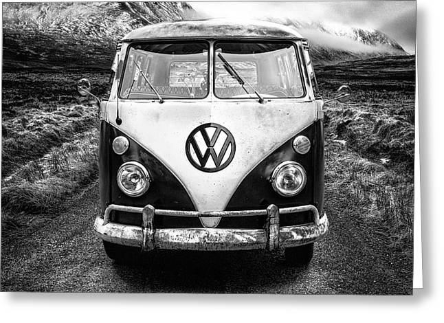 Cold Water Greeting Cards - Mono VW Camper Scotland  Greeting Card by John Farnan