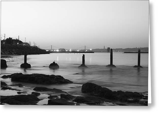Steel Pier Greeting Cards - Monochromatic Morning Greeting Card by Marco Oliveira