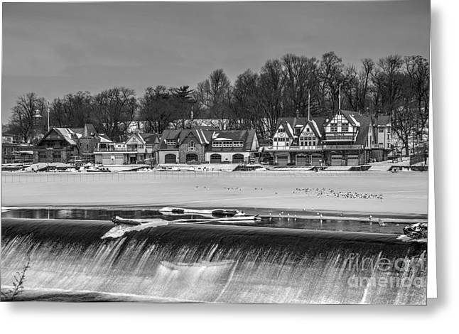 Williams Dam Greeting Cards - Monochrome Boathouse Row Greeting Card by Mark Ayzenberg
