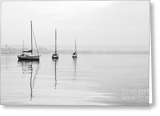 Arona Greeting Cards - Monochrome Boats Greeting Card by Mirari  Photography