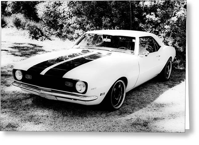 White Chevy Greeting Cards - Monochrome Camaro Greeting Card by motography aka Phil Clark