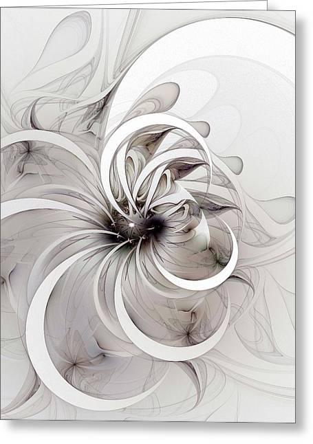 Floral Digital Art Greeting Cards - Monochrome flower Greeting Card by Amanda Moore
