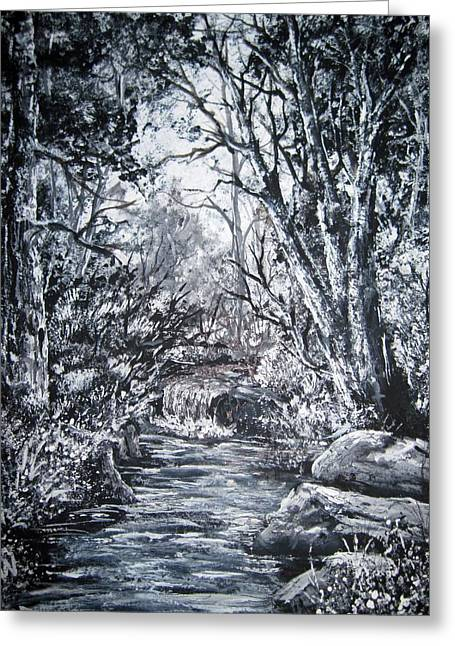 Paintng Greeting Cards - Monochrome forest Greeting Card by Megan Walsh