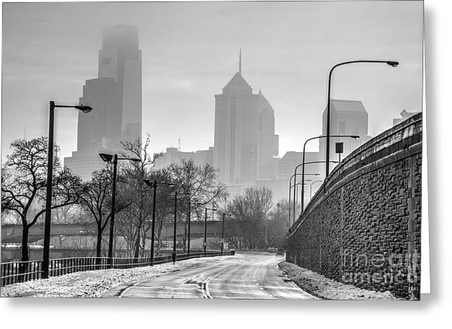 Williams Dam Greeting Cards - Monochrome Philly Skyline in the Snowy Fog Greeting Card by Mark Ayzenberg