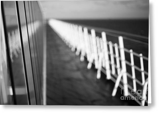 Boat Cruise Greeting Cards - Monochrome Sun Deck Greeting Card by Anne Gilbert