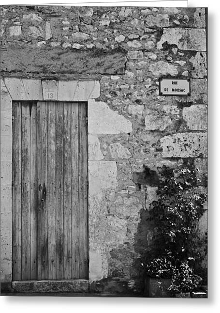 Monochrome Vintage Door Greeting Card by Georgia Fowler