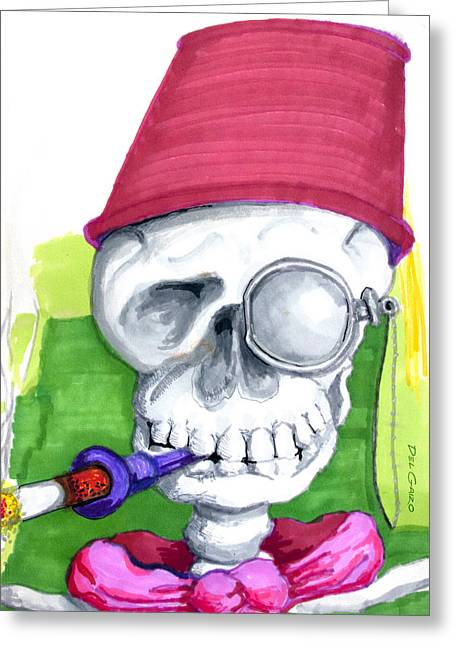 Cigarette Holder Greeting Cards - Monocle and Fez Greeting Card by Del Gaizo