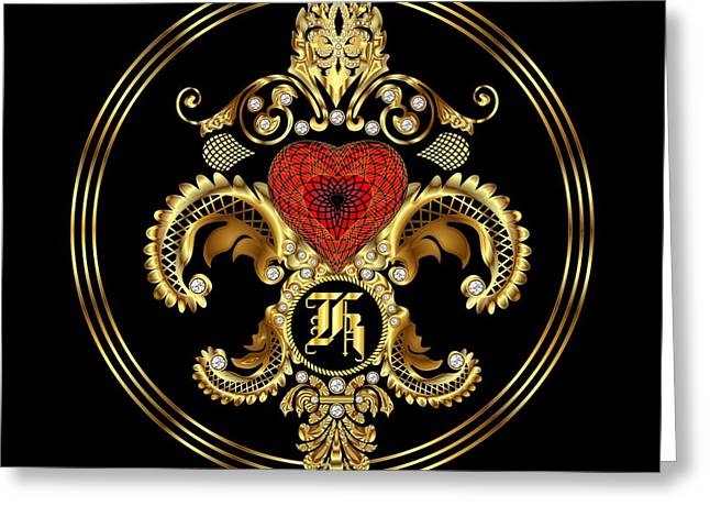Disposition Mixed Media Greeting Cards - Monogram K BF Throw Pillow Greeting Card by Bill Campitelle