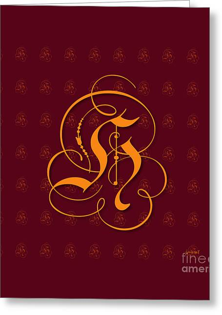 High Heels Abstract Art Greeting Cards - Monogrammed H6 Greeting Card by Johannes Murat