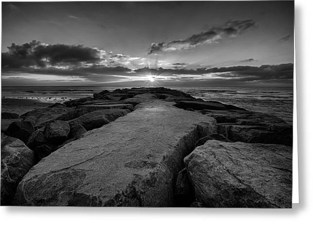 Locations Greeting Cards - Monolith - Black and White Greeting Card by Peter Tellone